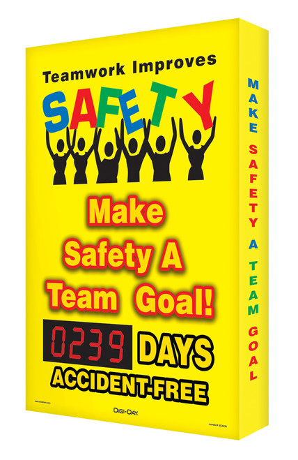 Digi Day Safety Scoreboards- Teamwork Improves Safety- Accuform SCA239