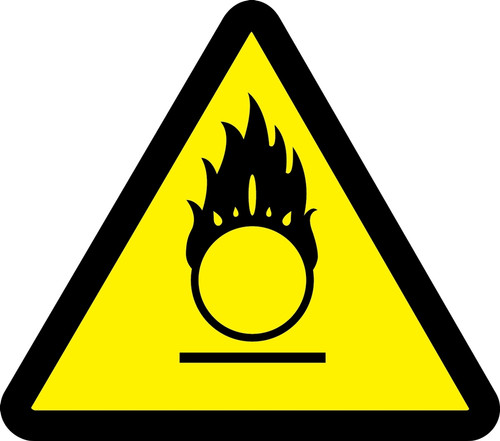 MISO362 ISO Warning Safety Sign- Oxidizing Materials Hazard Sign