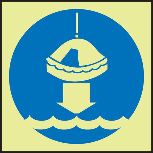 "Lower Life Raft To Water IMO Sign 6"" x 6"" Dura Lumi Glow Adhesive"