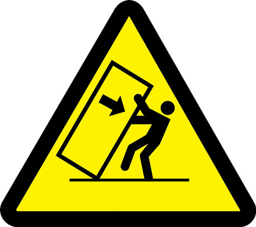 MISO306 ISO warning safety sign- tipping hazard sign