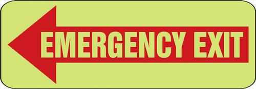 Emergency Exit Arrow Left Glow Sign