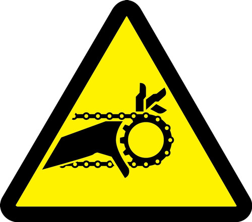 MISO322VP ISO warning safety sign- Chain drive entanglement hazard sign