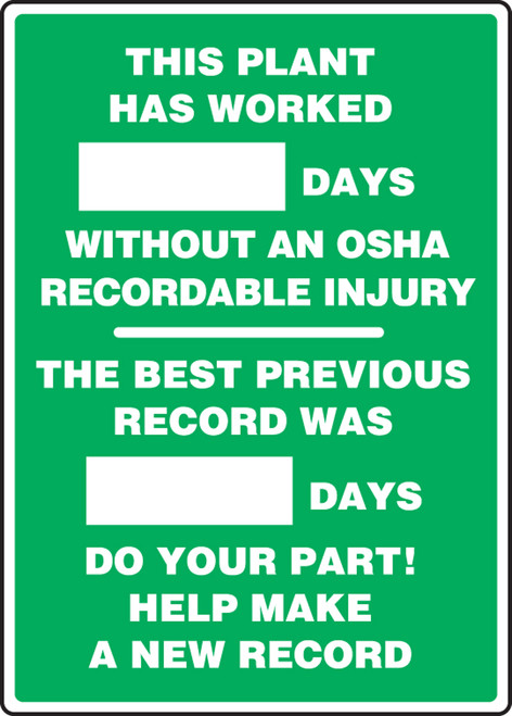 Write A Day Safety Scoreboard- This Plant Has Worked XXXX Days Without An OSHA