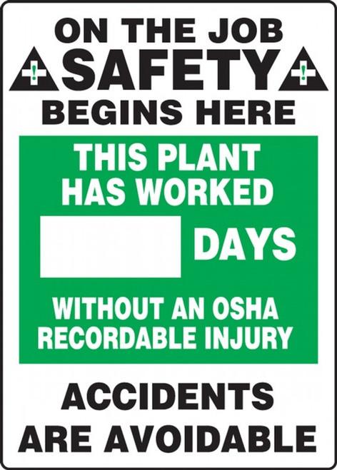 Write A Day Safety Scoreboard 28 x 20 Aluminum 6