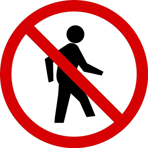 MISO500VS ISO prohibition Safety Sign- No Pedestrians Sign