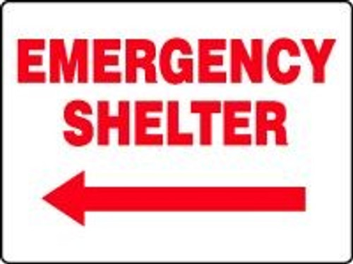 Emergency Shelter Sign with Arrow Left
