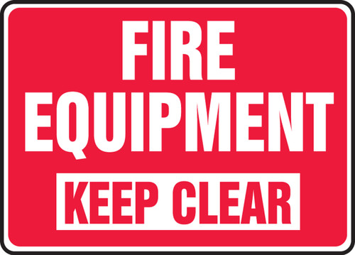 Fire Equipment Keep Clear - Plastic - 10'' X 14''