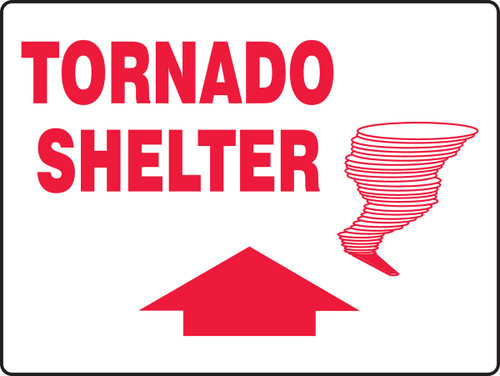 Tornado Shelter Sign with Arrow Up