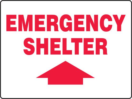 Emergency Shelter Sign Arrow up
