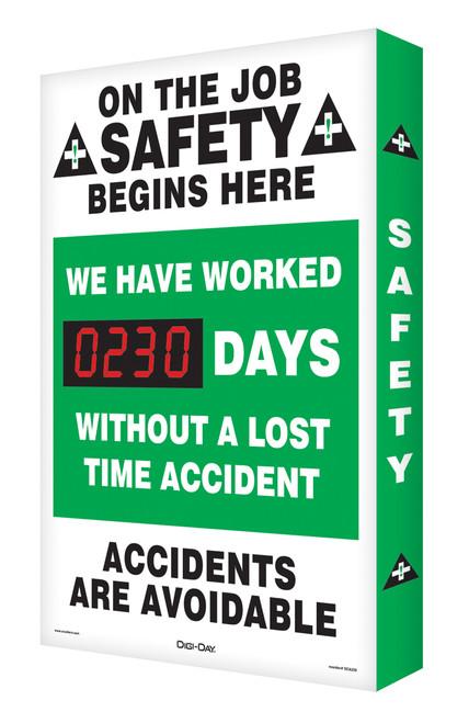 Digi Day Plus Outdoor Safety Scoreboard  Accuform SCM308