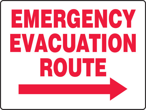 Emergency Evacuation Route Sign with Arrow Right