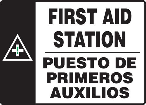 SBMFSR508MVP Bilingual Spanish First Aid Station Sign