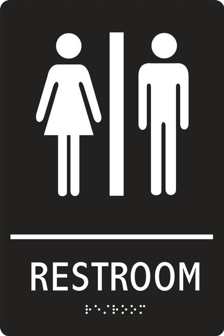 PAD100BU Unisex Restroom Sign ADA Braille Tactile Sign