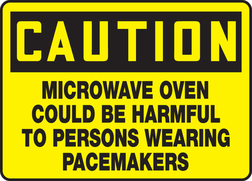 MRAD610 Microwave Oven Could Be Harmful to Persons Wearing Pacemakers Sign