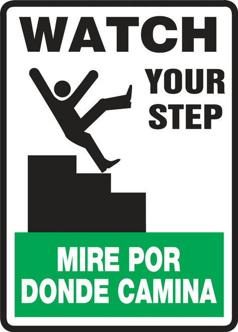 SBMSTF506VP Watch Your Step Sign Bilingual Spanish Safety Sign