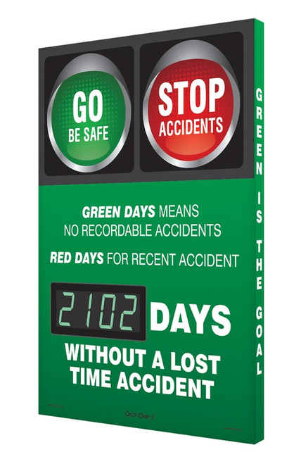 Digi Day 3 Electronic Safety Scoreboard Accuform SCK102
