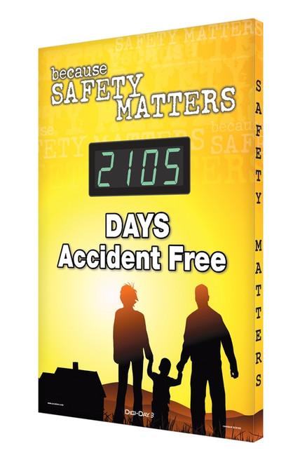 Digi Day 3 Electronic Safety Scoreboard Accuform SCK105