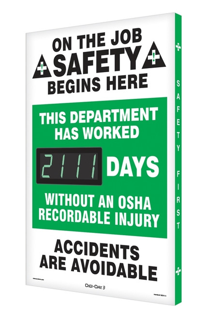 Digi Day 3 Electronic Safety Scoreboard Accuform SCK111