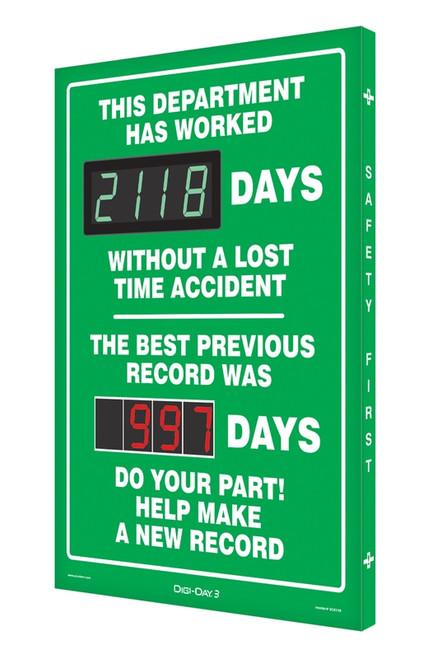 Digi Day 3 Electronic Safety Scoreboard Accuform SCK118