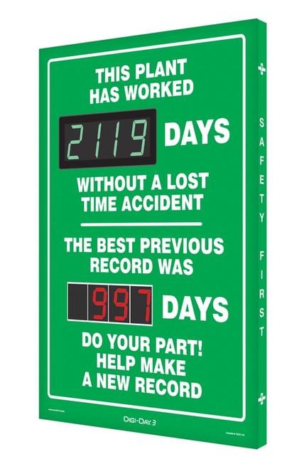 Digi Day 3 Electronic Safety Scoreboard Accuform SCK119