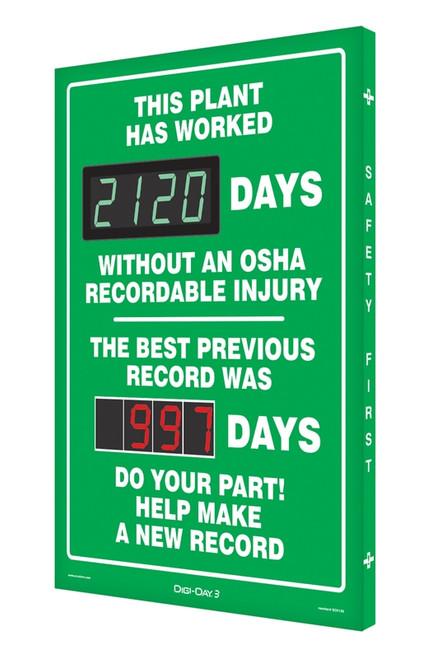 Digi Day 3 Electronic Safety Scoreboard Accuform SCK120