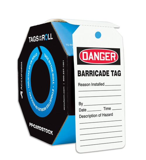 Barricade Tag OSHA Safety Tags by the Roll 100 per roll