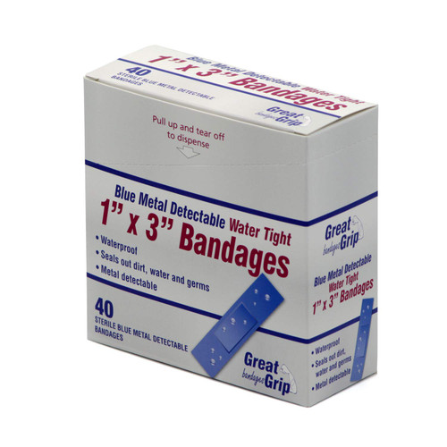 Blue Water Proof metal detectable 1''x 3'' 40 per box