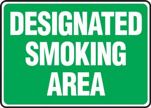 Designated Smoking Area - Green - 7'' X 10'' - Aluminum Safety Sign