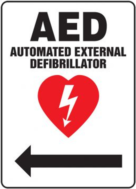 """AED Automated External Defibrillator - Left Arrow - 14"""" x 10"""" - Plastic Safety Sign"""