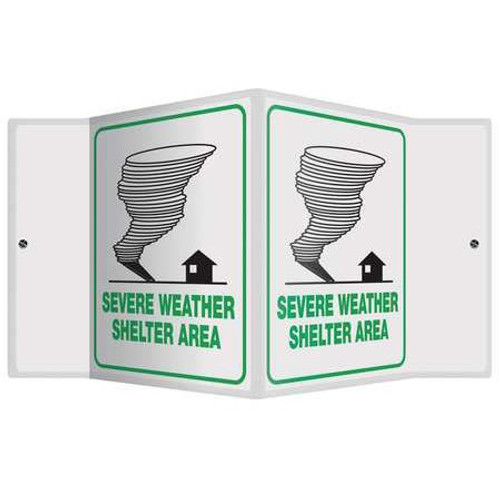 """Severe Weather Shelter Emergency - 3D 6"""" x 5"""" - Safety Panel - Projection Sign"""