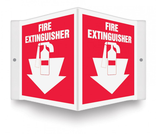 """Fire Extinguisher - 3D 6"""" x 5"""" - Safety Panel - Projection Sign"""