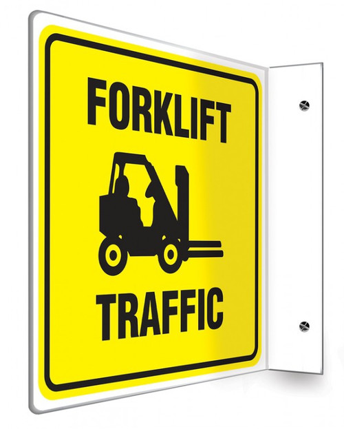 "Forklift Traffic - 90D 8"" x 8"" - Safety Panel - Projection Sign"
