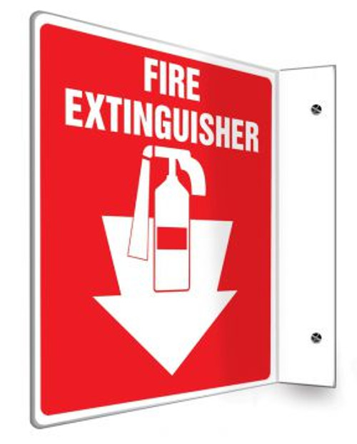 """Fire Extinguisher - 90D 8"""" x 8"""" - Safety Panel - Projection Sign"""