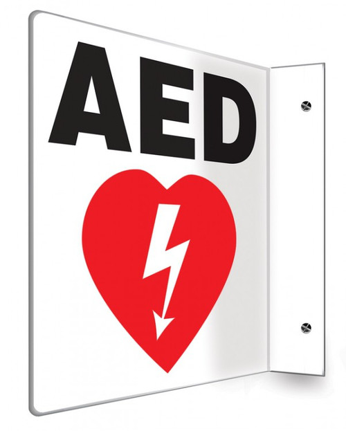 "AED - 90D 8"" x 8"" - Safety Panel - Projection Sign"