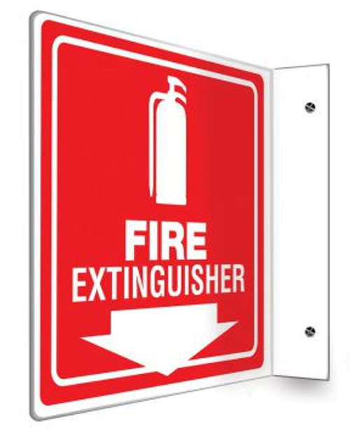 """Fire Extinguisher (White/Red) - 90D 8"""" x 8"""" - Safety Panel - Projection Sign"""