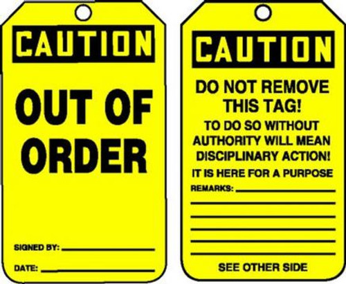 Out of Order - Safety Tag - 25/PK