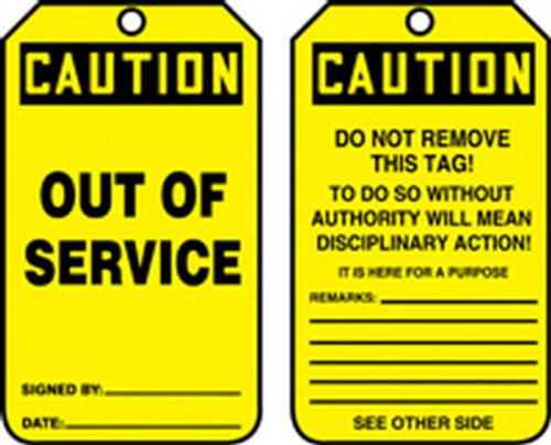 Out of Service- Safety Tag - 25/PK
