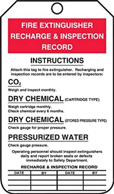 Fire Extinguisher Recharge and Inspection Record - Safety Tag - 25/PK