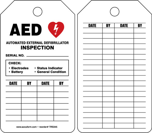 AED Status Safety Tag: Automatic External Defibrillator Inspection