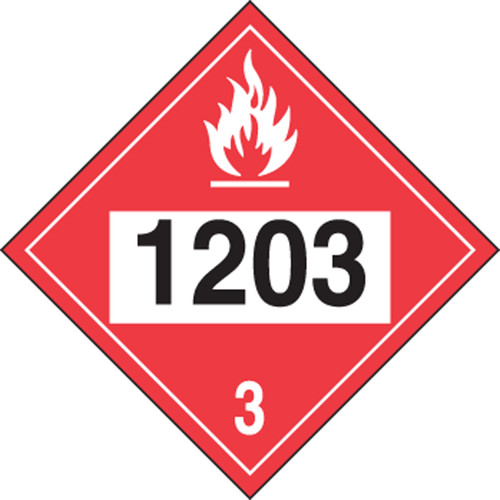 4-Digit DOT Placards: Hazard Class 3 - 1203 (Gasoline)