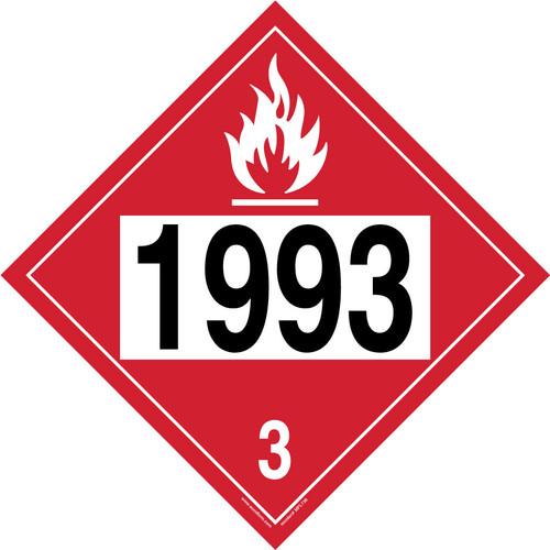4-Digit DOT Placards: Hazard Class 3 - 1993 (Flammable Liquid)