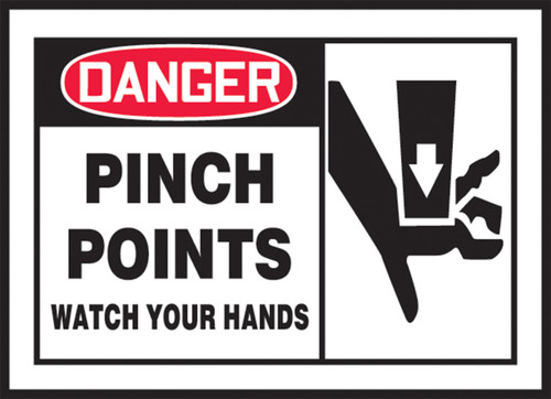 OSHA Danger Safety Label: Pinch Points - Watch Your Hands