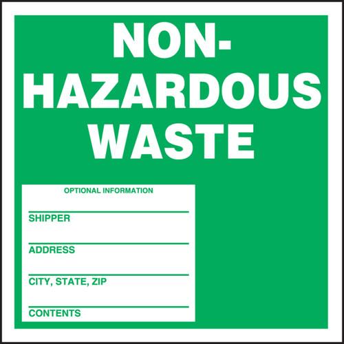 Safety Label: Non-Hazardous Waste