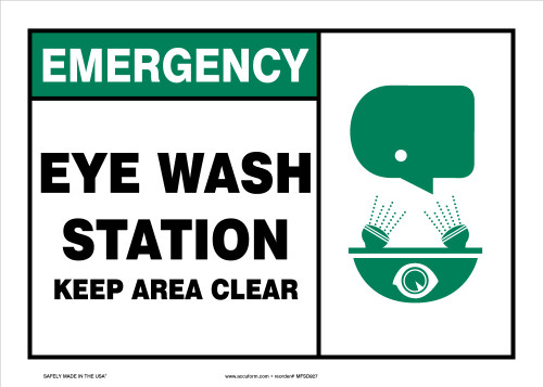 Emergency Safety Sign: Eye Wash Station - Keep Area Clear