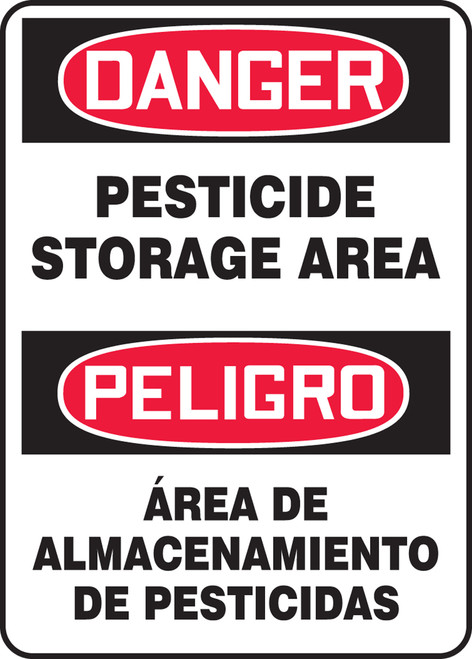 Bilingual OSHA Danger Safety Sign: Pesticide Storage Area