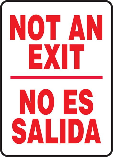 Bilingual Spanish Safety Sign - Not An Exit / No Es Salida