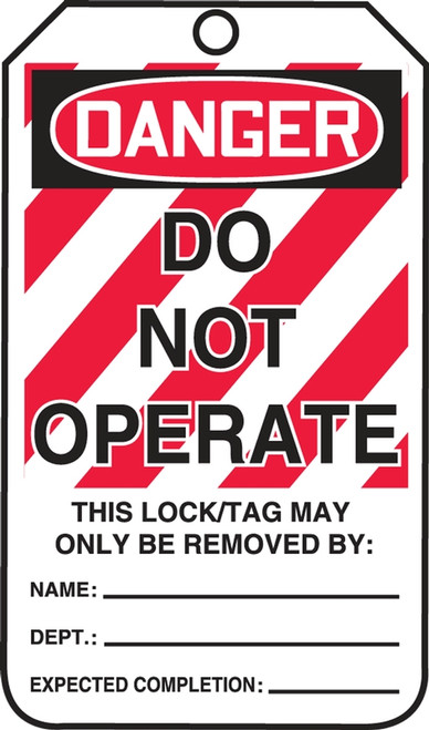 OSHA Danger Lockout Safety Tags: Do Not Operate