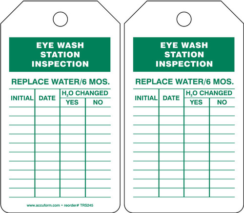 Eyewash Inspection Tags And Status Record Tags - Eye Wash