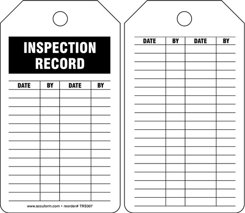 Safety Tag: Inspection Record