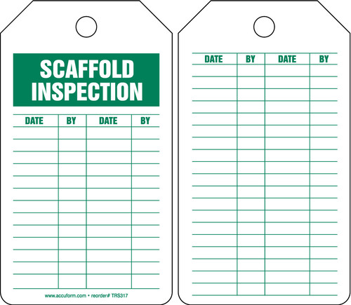 Equipment Status Safety Tag: Scaffold Inspection